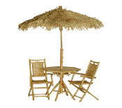 Bamboo Palapa, Table, and Chair Set
