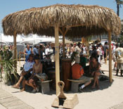 Palm Tiki Hut providing shade at the Honda US Open of Surfing