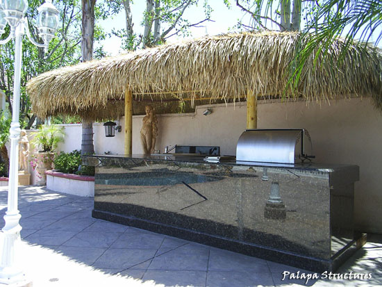 ... Two Pole Palm Palapa Over A BBQ And Counter Top ...